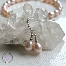 Pink Pearl Silver Earrings